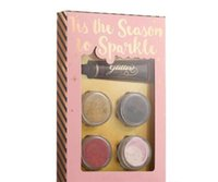 Wholesale face glue - Dropshipping Top Quality Faced TIS THE SEASON TO SPARKLE Loose Glitter Primer Set 4colors Glitter with Deluxe Glue set
