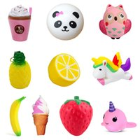 Wholesale cute bread - Squishy Collection 10pcs Slow Rising Bread Scented Squishies Glitter Foam Cute Cartoon Kawaii Fruits Animals Ice Cream Unicorn Squishy Toys