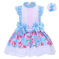 ingrosso ragazza blu vestito floreale dal merletto-Pettigirl Summer Baby Girl Abiti con fiocchi blu Stampa floreale e copricapo Colletto di pizzo Abbigliamento per bambini Boutique G-DMGD001-1310