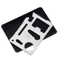 açık kart bıçağı toptan satış-Çok Fonksiyonlu Aracı Kart Açık Alet Avcılık Kamp Yürüyüş Survival Bıçak Cep Acil EDC Askeri Pratik Dişli Kiti