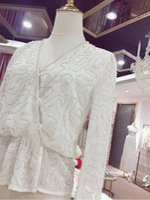 white long sleeve chiffon shirt Australia - Light Luxurious Three-dimensional Manual Nail Pearl Lotus Leaf Pendulum Waist Jacket Woman Pure White Long Sleeve Chiffon Shirt
