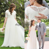 Wholesale Sexy Matures - A-Line Lace Tulle Beach Modest LDS Wedding Dresses 2018 Short Sleeves Cheap Simple Summer Garden Informal Reception Mature Bridal Gowns