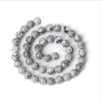 Wholesale stone necklace materials resale online - Natural Grey Map Stone Beads For Jewelry Making DIY Bracelet Material Necklace mm mm Strand