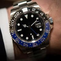 мужские синие керамические часы оптовых-2019 Горячие продажи мужские часы Автоматическая G MT II Керамическая рамка Черный Синий 116710 Sapphire Greenwich Series 116710Blro Stanless Мужские часы