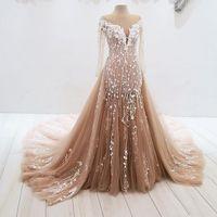 braune orange prom kleider großhandel-Elegante Meerjungfrau Abendkleider Sheer Neck Long Sleeves Appliques Tüll Bodenlangen Plus Size Brown Ivory Formale Prom Dresses