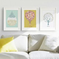 Wholesale triptych wall art modern resale online - Minimalist Modern Triptych Paintings Tree Fire Balloon Wall Sticker For Kids Rooms Art Wall Poster Home Decor Canvas Painting