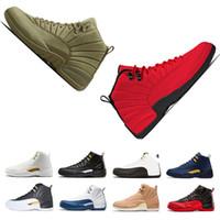 hommes français chaussures noires achat en gros de-Retro Air Jordan 12 AJ12 Mode nouveau 12 s noir blanc homme de Milan chaussures de basket-ball pour les hommes français bleu jeu de la grippe