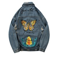 Wholesale butterfly jeans - Vintage Butterfly Printed Ripped Hole Denim Jackets Mens Fashion Casual Distressed Denim Jeans Jacket Streetwear Male