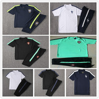 Wholesale national names - 2018 World Cup National France England Portugal Short Sleeve Training Suit Uniform Customized Name Soccer Football Shirt Tracksuit Pant Kit