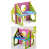 Wholesale fun exercises - Pet Mouse Rat Hamster Wooden Funny Fun Gym Playground Exercise Safe Toy Colorful