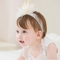 Wholesale crown hair band for girls - Baby shiny crown Lace headbands girls gold star hairband brithday Party hat Head Bands for Fashion Kids Hair Accessories KHA673