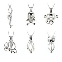Wholesale mermaid pendant sterling for sale - Group buy Mix Different Shape Sterling Silver Cage Pendants Mermaid Skull Monkey Butterfly Twisted Cat