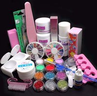 набор для декорирования ногтей оптовых-21 in 1 Professional Nail Art Kits Acrylic Glitter Color  French DIY Glitter Decoration Nail Art Deco Tips Set Tools