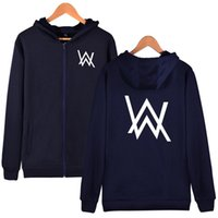 Wholesale aw fashion - Men Clothing DJ Alan Walker AW Hoodies Men Pullovers with Letter Print Hooded Tops Long Sleeve Sweatshirts