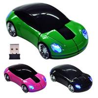 spiele rennen großhandel-Computerzubehör Rennwagen geformt 2,4 GHz 3D Wireless Optical Mouse / Mäuse USB 2.0 für PC Laptop-Computer Spiel Dropshipping