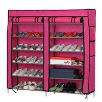 Wholesale Coffee Bathroom - Fashionable Room-saving 12 Lattices Dual Rows Non-woven Fabric Shoe Rack Rose Red Coffee