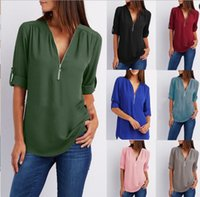 bluz pleat şifon toptan satış-Kadın Şifon Bluz Gömlek Fermuar V Boyun Pileli Gevşek Rahat Artı Boyutu S-5XL Avrupa Yaz Yarım Kollu Moda Tops