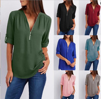 Wholesale European Women Blouses - Women Chiffon Blouse Shirts Zipper V Neck Pleated Loose Casual Plus Size S- 5XL European Summer Half Sleeve Fashion Tops