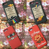 Wholesale Flying Ufo - For iPhone X Case Luxury Brand Embroidery Flower Fly UFO Phone Case for iphone 7 7plus 8 8plus hard back cover for iphone 6 6S 6plus