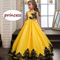 vestido formal de criança amarela venda por atacado-Crianças vestido de festa de casamento crianças menina amarelo vestido de baile à noite crianças adolescentes formal vestido de renda preta