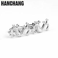 drachennägel großhandel-Emaille Manschettenknöpfe Silber Farbe Dragon Französisch Manschettenknöpfe Nagel Ärmel Knopf für Männer