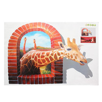 Wholesale wall window murals - Wholesale- Huge 3D Wall Sticker Giraffe Window Mural Wallpaper Vinyl Decal Room Home Decor PVC Film 60 x 90cm