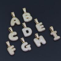 j collar al por mayor-26 letras G H I J K Letras de burbujas Helado Micropave Zircon Hombres Bling bling Cobre con circón Colgante Collar Joyas