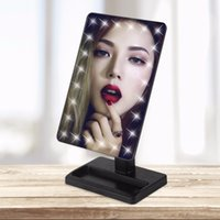 espejo cosmético cuadrado al por mayor-Square Shpe Desktop Brillo ajustable LED Facial Makeup Mirror Mujeres Dormitorio Tabletop Make up Mirror Cosmetic Light