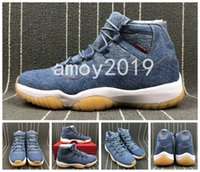 Wholesale casual blue jeans mens - 2018 With Box+Carbon Fiber Casual 11 Denim NRG Blue Jeans XI Basketball Shoes Mens Trainers 11s Flight Sports Sneakers Size 40-47