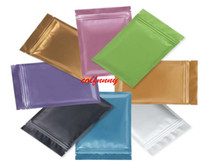 Wholesale gift wrapping plastic - Pink Gold Green black color Metallic Mylar ziplock bags flat bottom Black Aluminum foil small zip lock plastic bags F052207