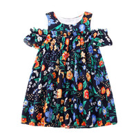 Wholesale design for girl dresses - Girl Princess Summer Dress Animals Cartoons Printed Kids Flowers Dress for Baby Girl Summer Clothing 2018 Designs Baby Clothing