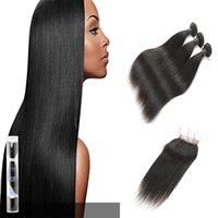 haare bündel zum verkauf schließung großhandel-Laflare Hair Product 3 Bundles indische seidige reine glatte Haarverlängerungen mit freiem Teil Lace Closure Grade 9A On Sale