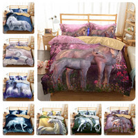 Wholesale bedding set 3d horse print resale online - 3D Cartoon Unicorn Bedding Sets Flying Horse Pillow Case Quilt Cover Soft Duvet Covers Polychromatic For Children tm9 ff