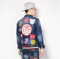 Wholesale Qiu Dong Jacket - The European and American wind personality badge jean jacket male qiu dong patch long-sleeved washed denim jacket male tide restoring ancien