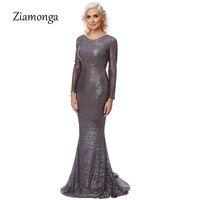 Großhandel Schwarz Grau Pailletten O-Ausschnitt Maxi Langes Kleid Langarm  Bodycon glittered Party Kleid rückenfreie elegante Abend Club Dress 832798b351