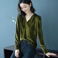 t-shirt elegante frau großhandel-Frauen V-Ausschnitt T-Shirt Büro Kleidung Blusas Femininas Tops Weiblich Elegant Casual Tops Langarm-Bluse