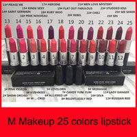 Wholesale high luster - High quality Makeup Matte Lipstick Batom Fosco Rouge Lipstick 3g Luster Frost Lipsticks M Brand 25 Colors CosmeticsFree shipping