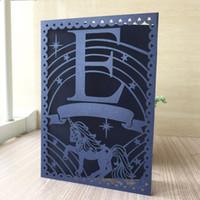 corte láser único al por mayor-35 unids Laser Cut Único Unicornio Diseño Tarjeta de Invitación de Boda Fuentes de la Fiesta de Eventos Tarjetas de Boda Románticas