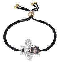 einstellbares paar armband großhandel-zlxgirl Schmuck Metall Kupfer verstellbare Kubikzircon Armband Nizza Biene Insekt Armband Paar Frauen Zubehör