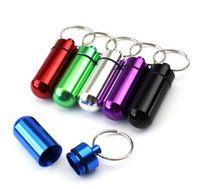 anahtarlık hap kutuları toptan satış-Seyahat Taşınabilir Su Geçirmez Mini Alüminyum Anahtarlık Tablet Depolama Hap Kutusu Şişe Vaka Tutucu Ile Anahtarlık