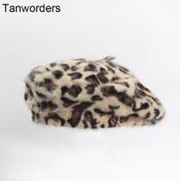 ingrosso berretti di pelliccia-2019 autunno e inverno nuova moda coniglio pelliccia di leopardo berretto di pelliccia cappello signore pittore cappello