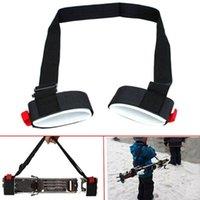 tiras de las pestañas al por mayor-Ajustable de esquí Polo hombro Hand Carrier Lash Handle Straps Porter Hook Loop Protección de nylon negro esquí Handle Strap Bags