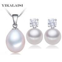 pulsera de perlas de plata esterlina al por mayor-YIKALAISI 2017 100% natural de agua dulce conjunto de perlas colgante Stud pendientes 925 joyería de plata esterlina collar de gargantilla para mujeres