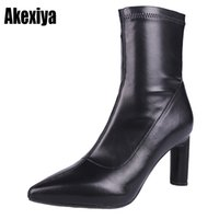 82e49df9746 Women High Heel Slouch Boots Black Satin Ankle Booties Pointed toe Slip on Wrinkled  Stylish Short Boots Evening Pumps y642
