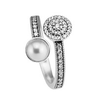 anillos de perlas de plata de ley al por mayor-Compatible con Pandora anillo de la joyería de plata Anillos luminosos luminosos Cristal blanco Perla 100% 925 joyería de plata esterlina al por mayor DIY para las mujeres