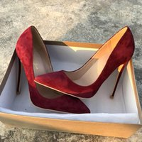 Wholesale red wine stilettos shoes for sale - Group buy fashion woman women lady Burgundy Red wine suede leather Wedding heels Stiletto High Heels shoes pumps boots sandals cm
