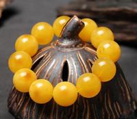 ingrosso cera d'api gialla-Braccialetti di cera d'api 18 mm di cera d'api vecchia polacca del Mar Baltico Braccialetti di ambra e bracciali gialli gialli da uomo e donna gialli