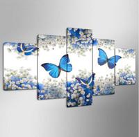 cuadros de lona azul al por mayor-Envío gratis Arte Portait Poster Wall Pictures 5 Panel Blue Butterfly pintura en aerosol Home Decor Modular Animal Canvas HD Prints Posters
