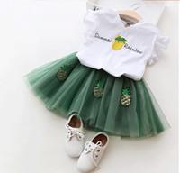 tutu verde arcoiris al por mayor-Nueva ropa de princesa de verano conjuntos de manga corta Tops camisas piña arco iris + faldas de tutú de encaje 2pcs trajes para niña verde rosa A8981