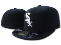 Wholesale red sox hat adjustable - Classic White Sox On Field Fitted Hats in black Color White Letter S-O-X Embroidered Baseball Closed Caps Free Shipping